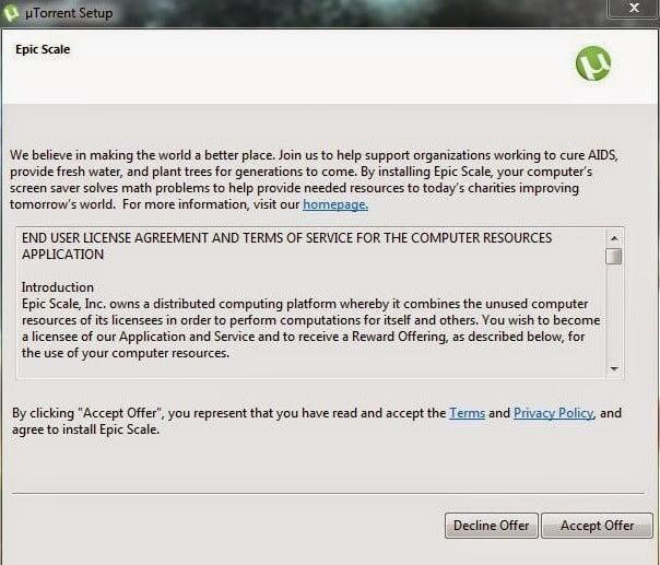 تحذير لمستعملي uTorrent من أداة يتم تتبيثها Bitcoin Mining Software