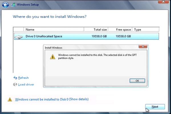 مشكلة Windows cannot be installed to this disk عند تثبيت ويندوز و كيف يمكن حلها