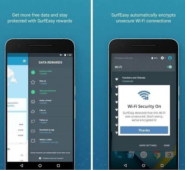 تطبيق SurfEasy Android لحماية خصوصياتك عند الاتصال بنقاط الواي فاي العامة