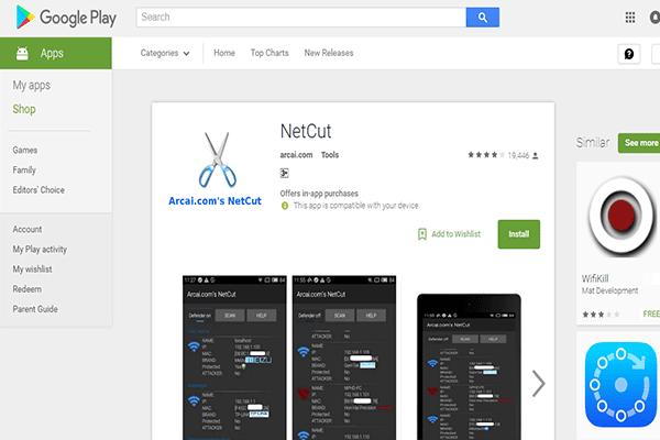 Application Net Cut pour couper Internet du téléphone de toute personne avec vous dans le réseau - Android