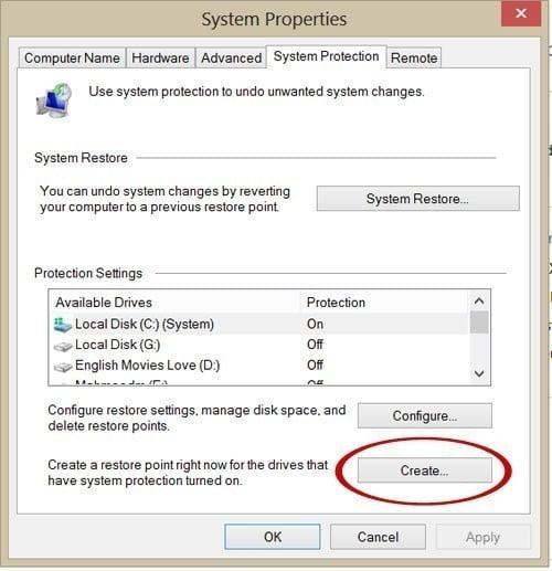 شرح كيفية انشاء نقطة استعادة النظام من خلال خاصية System Restore