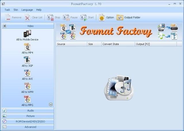 برنامج Format Factory لتحويل الصوتيات والفيديو والصور الى مختلف الصيغ