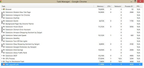 جوجل كروم يفتح العديد من العمليات في مدير المهام Task Manager