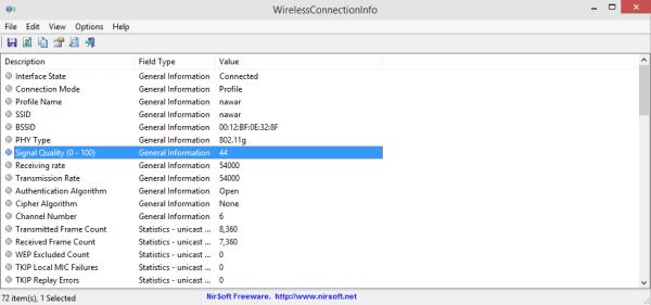 Programme WirelessConnectionInfo pour connaître la force du signal Wi-Fi sur votre appareil - programmes