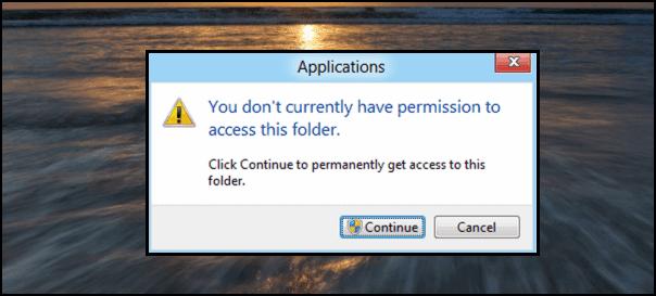 حل مشكل You don't currently have permission to access this folder في الويندوز - الويندوز