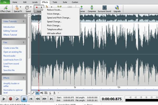 Logiciel d'édition audio WavePad pour séparer la voix du chanteur de la chanson - Le logiciel est gratuit