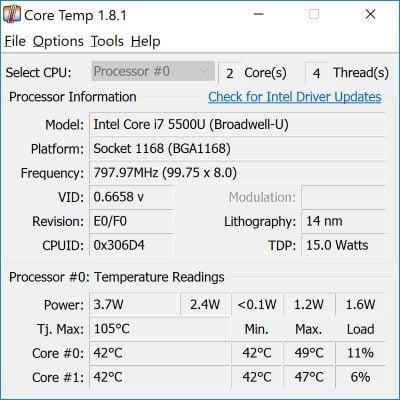 Laptop Temperature Core DzTechs - كيفية التحقق من درجة حرارة المعالج للكمبيوتر المحمول في Windows 10