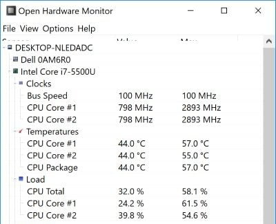 Laptop Temperature Open Hardware DzTechs - كيفية التحقق من درجة حرارة المعالج للكمبيوتر المحمول في Windows 10