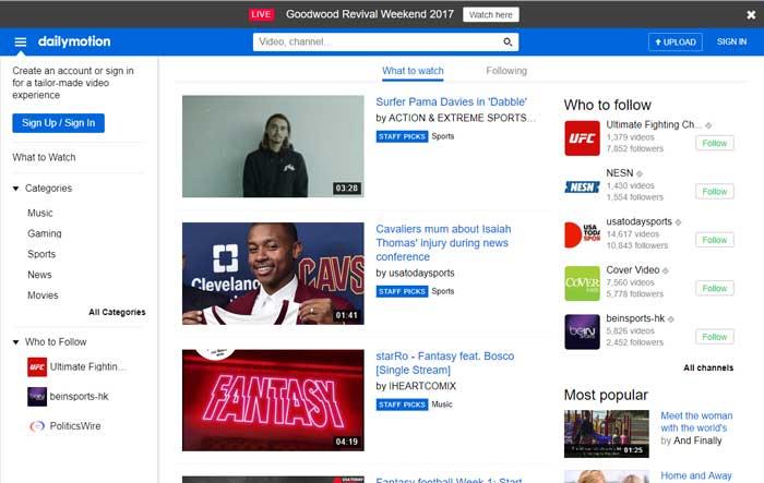 youtube alternatives dailymotion DzTechs - هل تقوم باستخدام YouTube وأتعبك كثرة الفيديوهات؟ إليك أفضل البدائل لـ YouTube