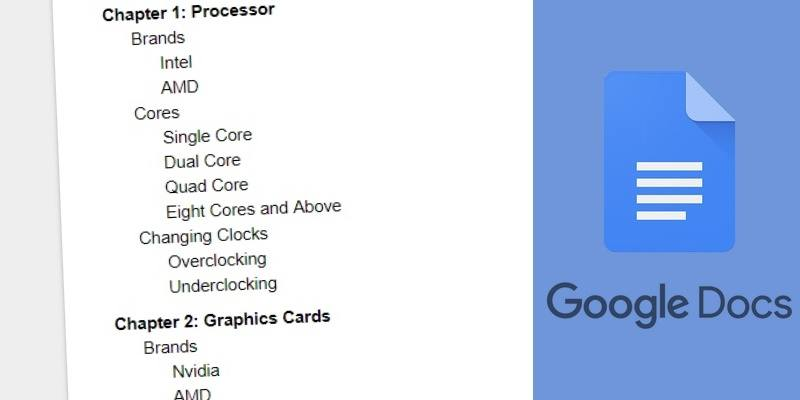 Comment ajouter et mettre à jour l'index des contenus dans Google Docs - explications