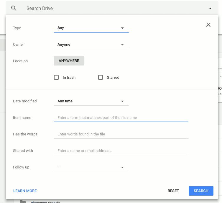كيفية البحث بشكل فعال عن الملفات والمجلدات في Google Drive - Google شروحات