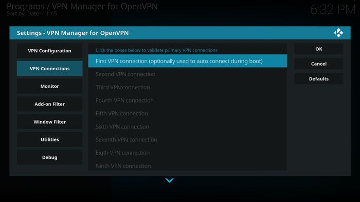 set up vpn on kodi vpn manager first connection DzTechs - كيفية استخدام VPN مع كودي من خلال Kodi VPN Manager
