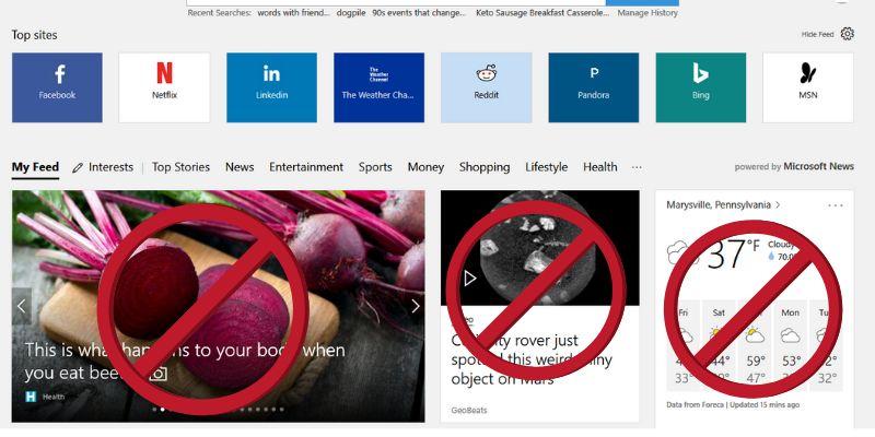 كيفية تعطيل المقالات على Microsoft Edge في الصفحة الرئيسية