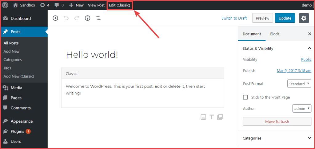 Comment désactiver l'éditeur Gutenberg et continuer à utiliser l'éditeur classique sur WordPress