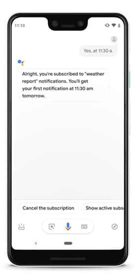 subscribe to weather updates 1 DzTechs - 10 حيل واختصارات سريعة لـ Google Assistant لتحل محل التطبيقات على Android الخاص بك