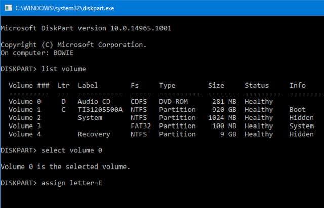 1 assign letter e DzTechs - Windows 10 لا يقوم بالتمهيد ؟ إصلاحات لتشغيل الكمبيوتر مرة أخرى