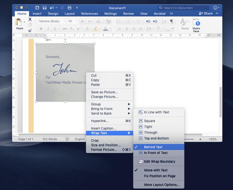 كيف يمكنني إضافة توقيع في مستند Microsoft Word ؟