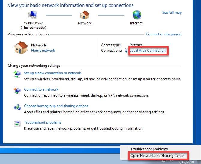 Windows 7 Network Sharing Center DzTechs - متصل بشبكة Wi-Fi ، ولكن لا يوجد اتصال إنترنت في Windows؟ ها هي الإصلاحات!