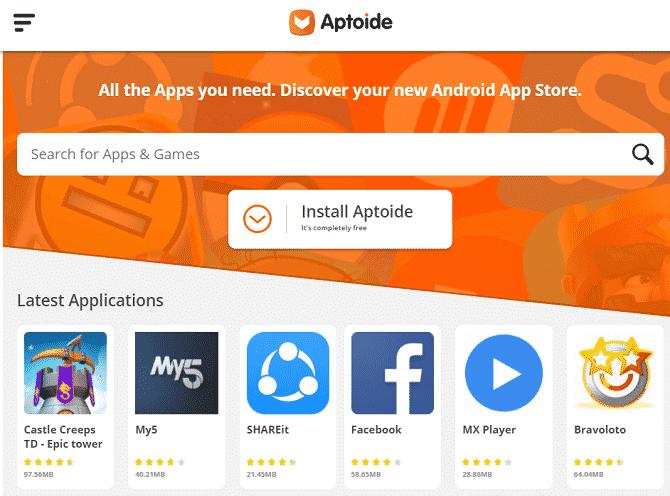 aptoide 670x496 DzTechs - أفضل المواقع لتحميل ألعاب وتطبيقات Android مجانًا وبأمان