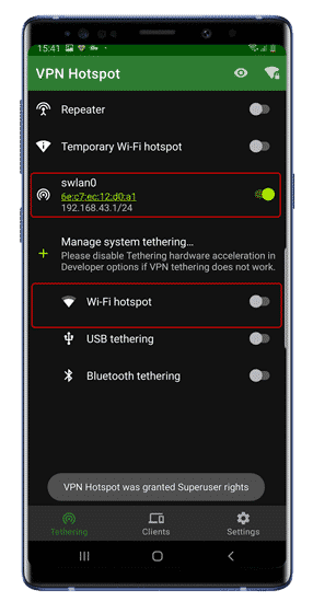 كيفية مشاركة اتصال VPN عبر نقطة اتصال WiFi على Android (صلاحيات الروت)