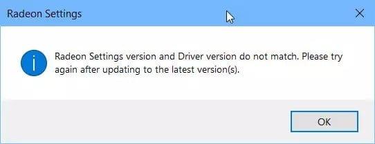 إصلاح خطأ إصدار Radeon Settings وإصدار Driver غير متطابقين