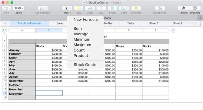 كيفية استخدام الصيغ والدوال في Numbers على Mac