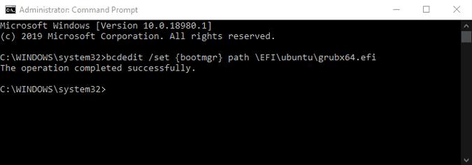 Comment réparer GRUB supprimé après la mise à niveau de Windows 10