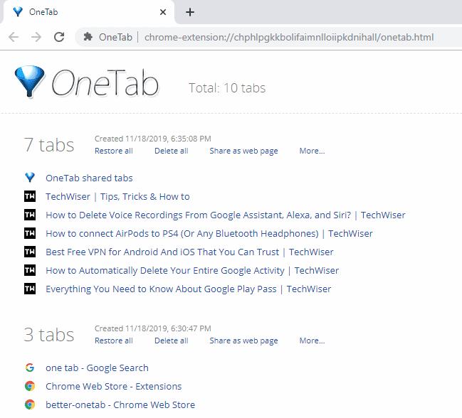 Comment utiliser l'extension OneTab efficacement