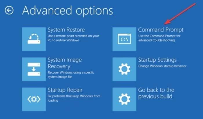 """fix bad system config info windows 10 advanced options command prompt2B252812529 DzTechs - كيفية إصلاح خطأ """"معلومات تهيئة النظام غير صحيحة"""" في نظام التشغيل Windows 10"""