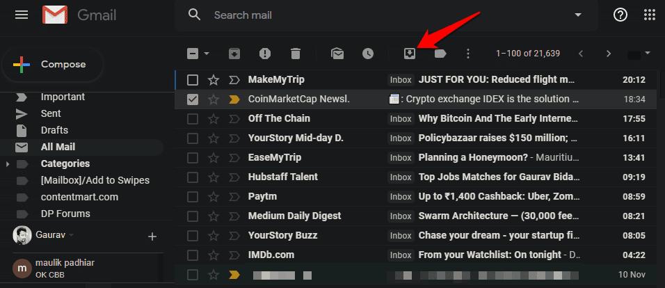 كيفية استرداد رسائل البريد الإلكتروني المؤرشفة في Gmail