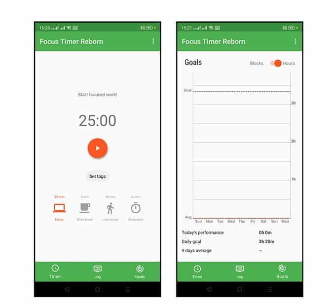 Focus Timer Reborn DzTechs - أفضل تطبيقات Pomodoro لأجهزة Android للحفاظ على إنتاجيتك