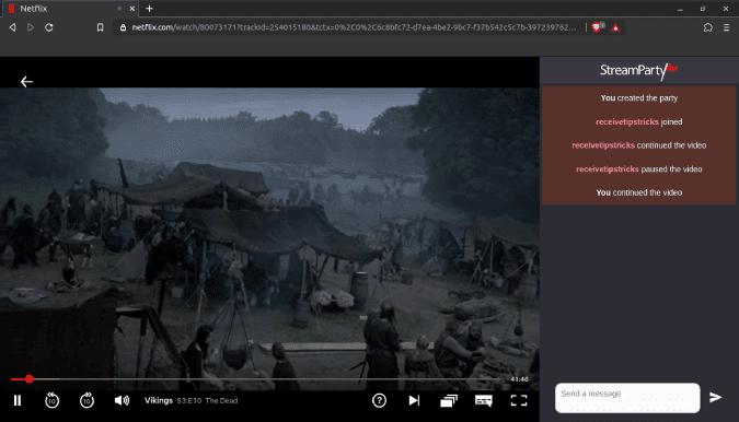 chat window streamparty netflix DzTechs - كيفية مشاهدة Netflix مع الأصدقاء عن بُعد: أفضل الطرق التي تعمل بالفعل