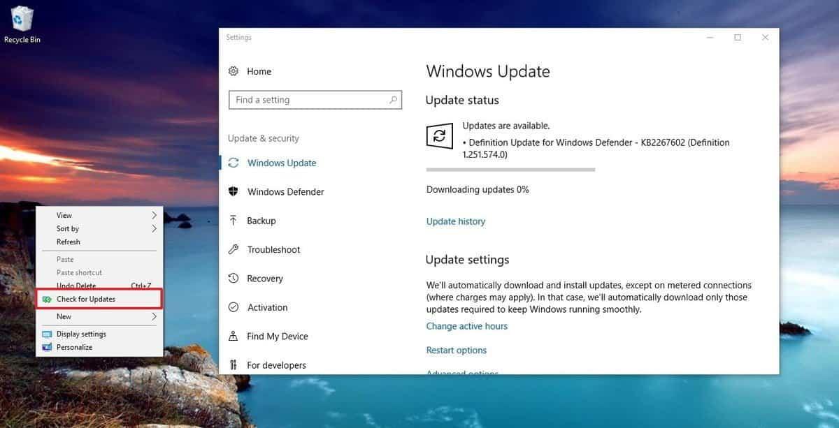"check updates windows 10 context menu DzTechs - كيفية إضافة خيار ""التحقق من وجود تحديثات""  إلى قائمة النقر بزر الماوس الأيمن على Windows 10"