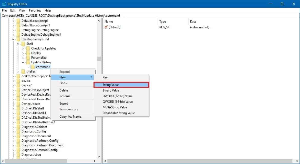 "updatehistory command string DzTechs - كيفية إضافة خيار ""التحقق من وجود تحديثات""  إلى قائمة النقر بزر الماوس الأيمن على Windows 10"