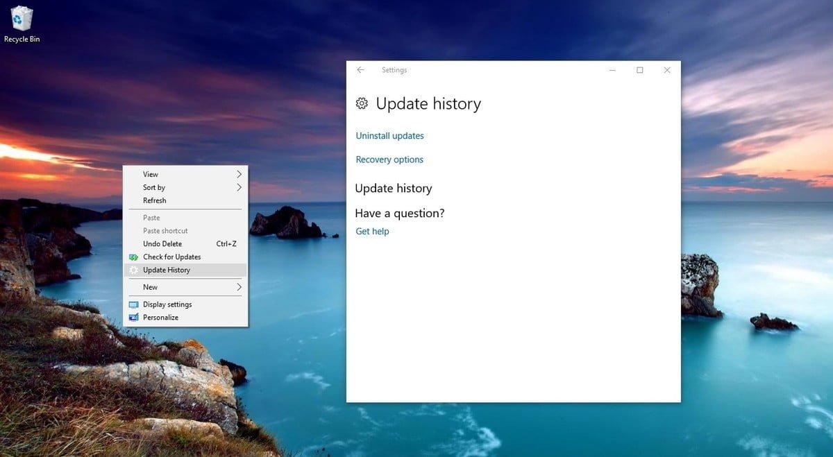"updatehistory context menu option DzTechs - كيفية إضافة خيار ""التحقق من وجود تحديثات""  إلى قائمة النقر بزر الماوس الأيمن على Windows 10"