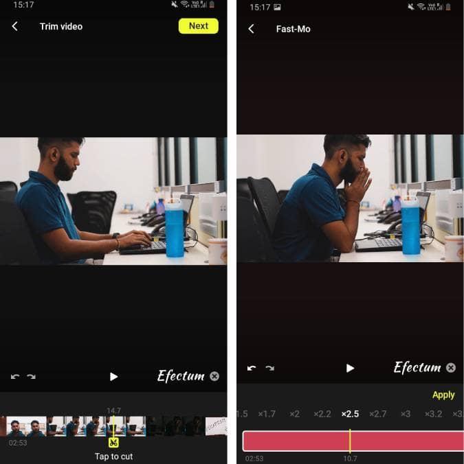 Screenshot 20200627 151733 Efectum 1 YYZNVYfs DzTechs - أفضل تطبيقات تعديل الفيديو المجانية للتدوين المرئي (Vlog) على Android و iOS