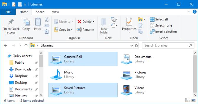 كيفية حذف مجلدات Camera Roll و Saved Pictures في Windows 10 - الويندوز