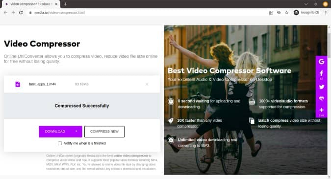 أفضل خيارات ضغط ملفات الفيديو على الإنترنت بدون علامة مائية - مواقع