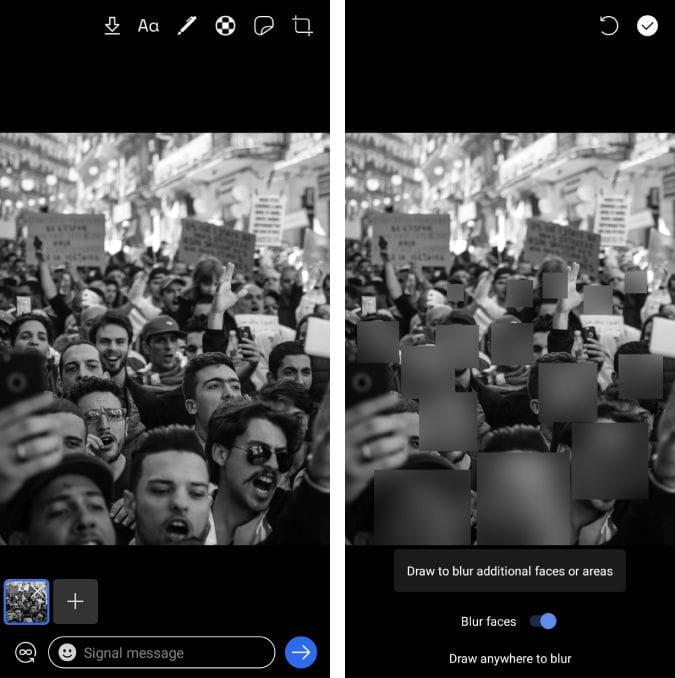 Screenshot 20200609 144204 Signal 1 jFNO0Yfs DzTechs - أفضل التطبيقات لطمس الوجوه وتعتيمها في الصور ومقاطع الفيديو لـ Android و iOS
