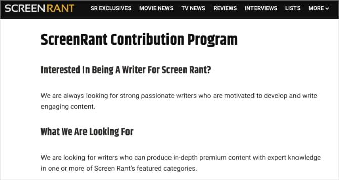 ScreenRant contributor program web page 844d3Pfs DzTechs - كيفية كتابة مراجعات الأفلام على الانترنت وكسب المال من القيام بذلك