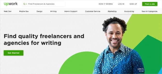 Upwork web banner showing freelance writer  lD4d3Pfs DzTechs - كيفية كتابة مراجعات الأفلام على الانترنت وكسب المال من القيام بذلك