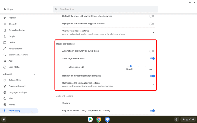 كيفية تغيير مؤشر الماوس في Chromebook