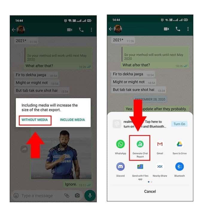 كيفية إنشاء تقرير دردشة فردي علىWhatsApp