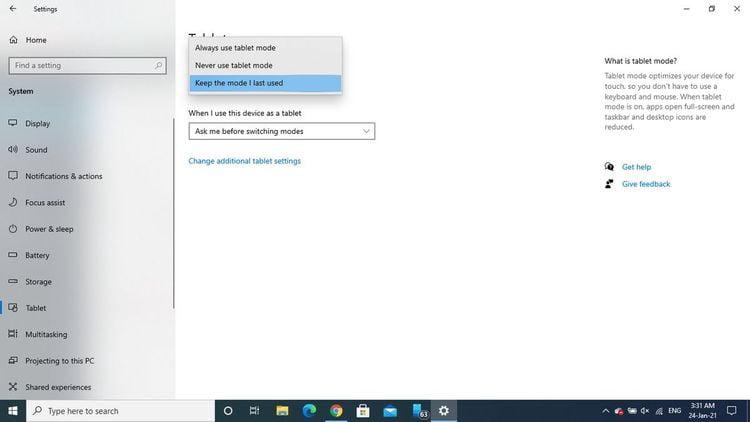 كيفية إيقاف تشغيل الوضع اللوحي في Windows10