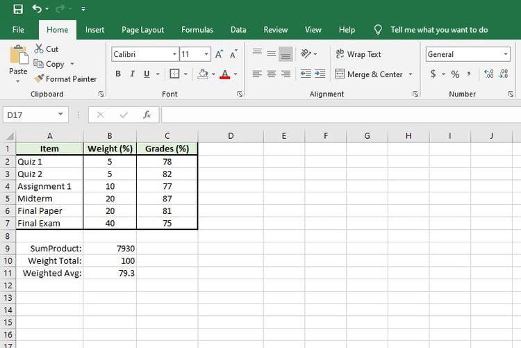 كيفية حساب المتوسط المرجح فيExcel