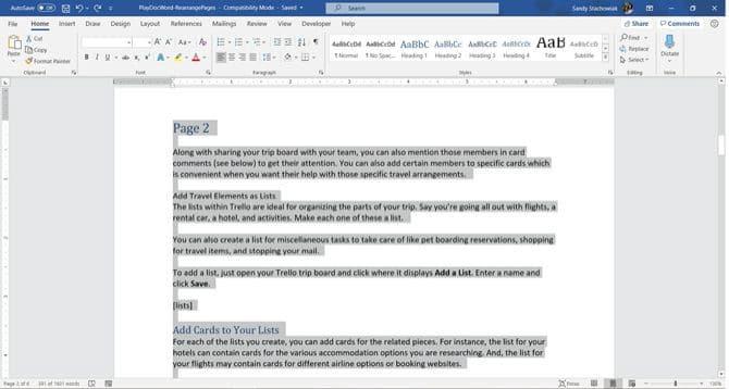 كيفية نقل الصفحات وإعادة تنظيمها وإعادة ترتيبها في Microsoft Word - شروحات