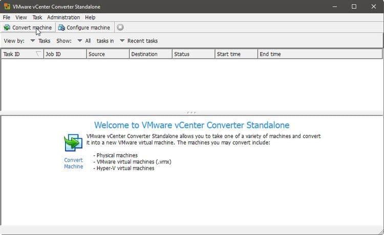 استنساخ Windows إلى جهاز افتراضي باستخدام vCenter Converter Standalone منVMware - الويندوز