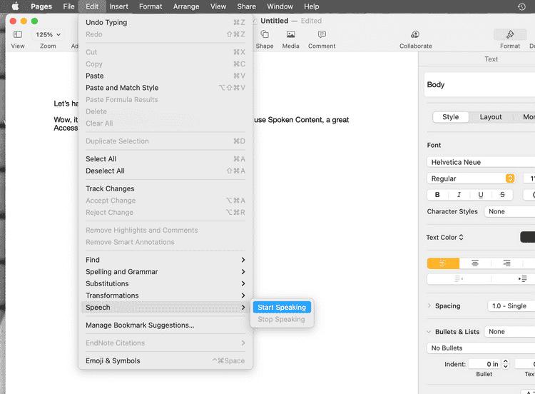 كيفية استخدام المحتوى المنطوق لجعل جهاز Mac يقرأ بصوت عالٍلك - شروحات